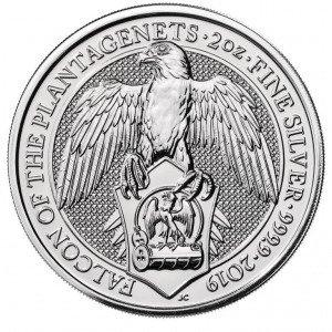 Srebrna Moneta Bestie Królowej: Sokół Plantagenetów 2 uncje 24h