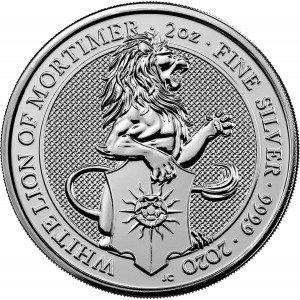 Srebrna Moneta Bestie Królowej: White Lion of Mortimer 2 uncje 24h
