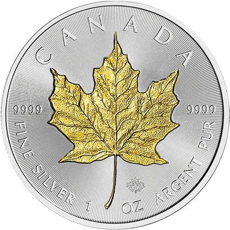 Srebrna Moneta Kanadyjski Liść Klonowy 1 uncja (platerowany złotem) 24h