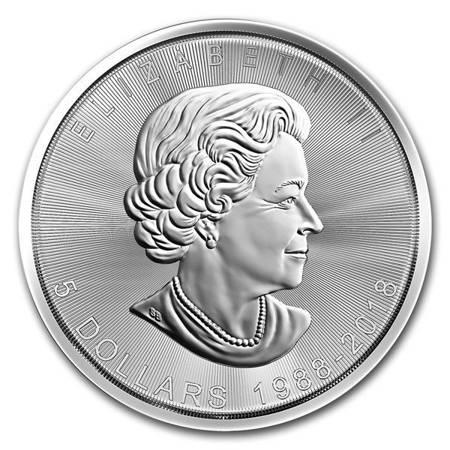 Srebrna Moneta Kanadyjski Liść Klonowy - 30. rocznica 1 uncja 24h