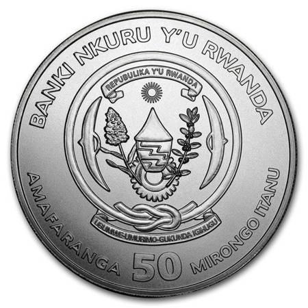 Srebrna Moneta Rok Koguta - Rwanda 1 uncja 2017r 24h