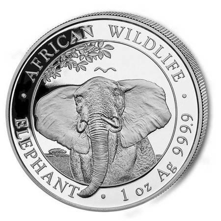 Srebrna Moneta Somalijski Słoń 1 uncja 24h