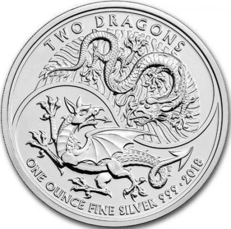 Srebrna Moneta Two Dragons 1 uncja 2018r 24h