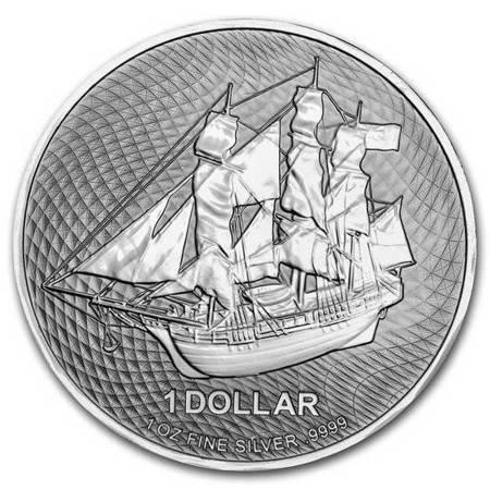 Srebrna Moneta Wyspy Cooka - HMS Bounty 1 uncja 24h