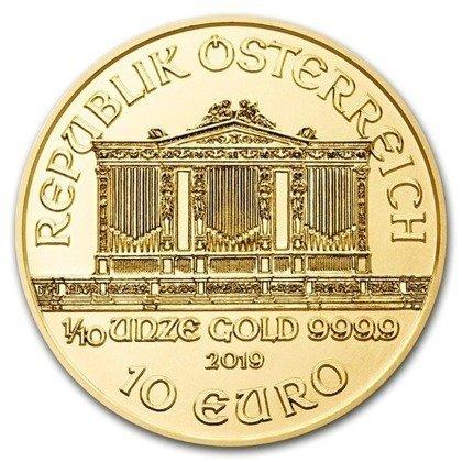 Złota Moneta Wiedeński Filharmonik 1/10 uncji